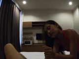 Asian european couple get horny after amateur pool fun