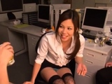 Charming young playgirl seduces an mature lad in the office